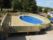 unattached pool deck for oval pool