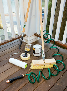 cleaning a deck equipment